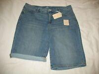 New St Johns Bay Bermuda Blue Jean Shorts Sz 14 Medium Denim Womens