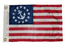 """12x18 Nautical Ensign Yacht Boat Super Knit Us Flag Store Flag 12""""x18"""" Grommets"""