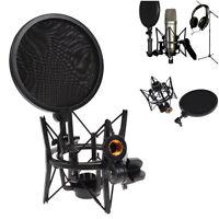 Microphone Mic Shock Mount Holder Audio Stand + Integrated Pop Filter Pro Studio