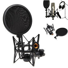 Microphone Mic Shock Mount Holder Audio Stand + Integrated Pop Filter Pro Studio