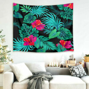 Wall Hanging Tapestry Tropical Leaves and Hibiscus Living Room Bedroom Bedspread