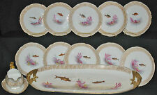 ANTIQUE LIMOGES HP 12 PIECE FISH SET PLATTER GRAVY BOAT SERVICE PLATES GOLD TRIM
