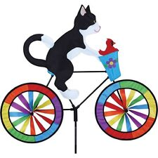 Tuxedo Cat on a Bicycle Staked with Ground Mount Wind Spinner 25 Pr 26714