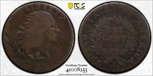 1793 Flowing Hair Cent. Wreath Reverse. S-5. Rarity-4. Vine and Bars  PCGS GOOD