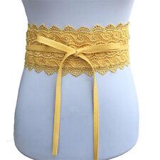 Vintage Women Girl Lace Flower Bowknot Cinch Wide Waist Belt Waistband