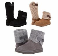 UGG Women's Fashion Shaina Knit Bootie Boots Black Chestnut Grey NEW In Box