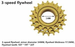Bicycle Freewheel 3 Speed 16,19,22T Cassette Freewheel Bike Flywheel New