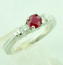0.96 ct 14k White Gold Ladie's Natural Ruby & Diamond Ring Band made USA 3 stone