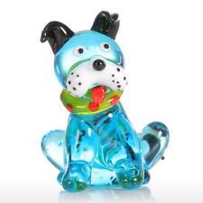 Tooarts Blue Squatting Dog Gift Glass Ornament Animal Figurine Handblown O5F3