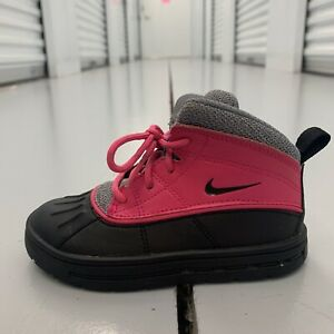 Nike ACG Woodside Winter Boots High Toddlers Pink Foil Black 524878-600 Sz 9C