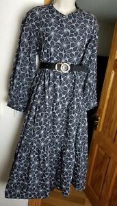 New Stunning Size S 8-10 Midi Midax Dress Gd Actuel @ ASOS Vtg Smock Tiered Tea