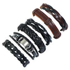 Men Women Multilayer Leather Braided Bracelet Bangle Wristband Wrap Cuff Jewelry