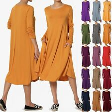 TheMogan Women & PLUS Long Sleeve A-line Fit & Flare Midi Long Dress W/ Pockets