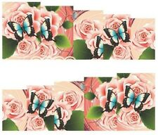 Nail Art Decals Transfers Stickers Pink Roses Blue Butterflies (A-164)