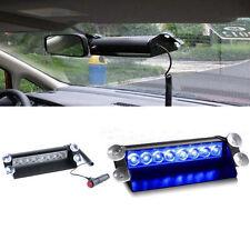 12V 8 LEDs Auto Schlag Strobe Blitzlicht Notfall Polizei Warnung 3 Modi Blau Neu