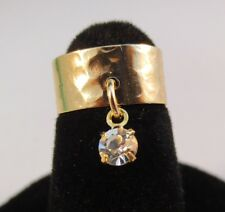 14 KT GOLD PLATED HAMMERED TOE RING WITH A CLEAR (APRIL)  CRYSTAL DANGLE