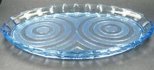 Vintage Art Deco Blue Pressed Glass Dressing Table Tray