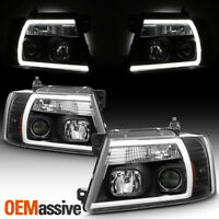 Fits 2004-2008 Ford F150 Pickup Black Full LED DRL Tube Projector Headlights Set