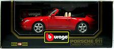 18 BURAGO PORSCHE 911 CARRERA CABRIOLET 1994 ROUGE N°3090