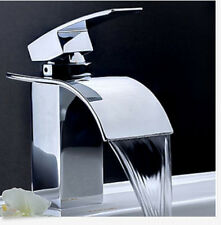 Modern Square Waterfall Spout Bathroom Basin Faucet Single Handle Hole Mixer Tap