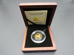 2001 1/4 oz Gold Maple Leaf Hologram Coin 9999 Fine Au Wooden Box Canada RCM