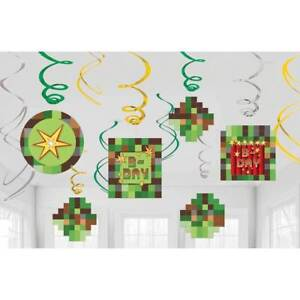 TNT Pixel Swirl Decoration Birthday Party Supplies Dangler Pack of 12