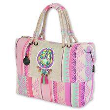 Catori Light Beige Pink Bohemian Chic Aztec Handbag Oversized Shoulder Bag New