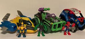 Playskool Marvel Super Hero Adventure Wolverine  Jet Spiderman Buggy & Hulk Jeep
