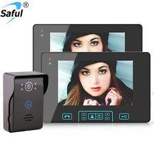 "Saful night vision 7"" Video Intercom Door Phone System With 2 Monitor 1 Doorbell"