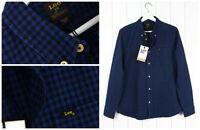 Nuevo Lee 101 con Botones en Espiga Camisa Azul/Negro Cuadros Vintage Small S/M