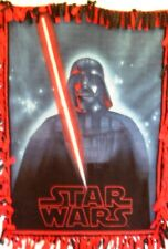 Star Wars -Darth Vader w Light Sabre ,Logo Hand Tied Two Layer Fleece Throw New!