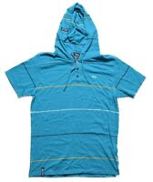 LRG Lifted Research Group Mens Teal Striped Polo Hoodie Shirt XL