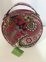NEW Vera Bradley Cosmetic Hatbox Makeup Bag Case Very Berry Paisley Pink Purple