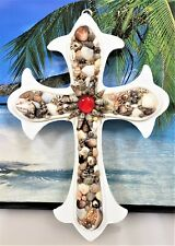 FANCY NAUTICAL 3 JOHN 16 SEA SHELLS ON A HAND CRAFTED WHITE WOODEN CROSS