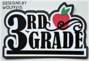 CRAFTECAFE SCHOOL TITLE paper piecing premade scrapbook page die cut 3D WOLFFEY5