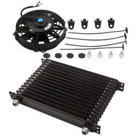 7 inch Electric Fan Kit & AN10 15 Row Engine Transmission Oil Cooler Black