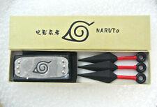 Anime Naruto Cosplay Prop Leaf Red Village Ninja Kunai Headband Set Kids Toys