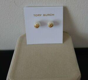 Tory Burch Logo Faux Pearl white stud earrings