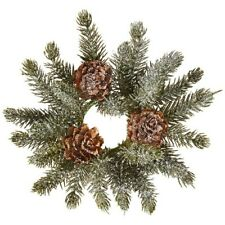 """Raz Imports 4.5"""" Iced Pine Candle Ring (3860856)"""