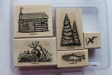 "Stampin Up Backwoods set of 5 ""Retired"" Cabin, Deer, Trees, Fish, Bird"