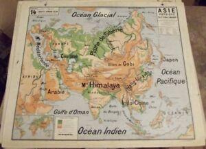 Antique carte Vidal Lablache Géographie Asie Plaine de Sibérie Himalaya Gobi