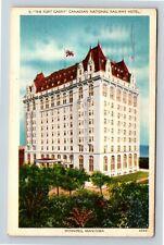 Winnipeg MB, Fort Garry, Railway Hotel, Vintage Manitoba Canada c1962 Postcard