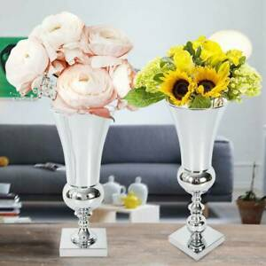 43cm Modern Stunning Silver Iron Luxury Flower Vase Urn Wedding Table Home Décor