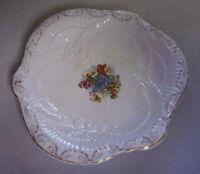 "Antique 11"" Ceramic Serving Platter Fruit / Grape & Flower Motif with Gold Trim."