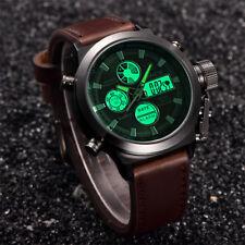 Herren Quarz Sport Militär Armee LED Uhren Analog Edelstahl Modisch Armbanduhr