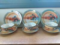 """Takito Japan """"TT"""" Lusterware Set of 3 Handpainted Plates, 3 Saucers Cups Vintage"""