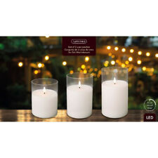 Set of 3 LED Real White Wax Candle, Clear Glass 3D Light Up Flame Timer Function