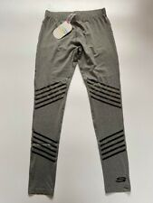 Sketchers Sport Womens Grey Striped Tight Leggins Gym Workout Fitness Yoga BNWT