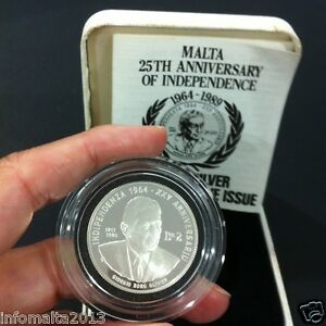 1989 Malta 25th Anniv Independence Silver Proof Coin Box And Certificate #0553