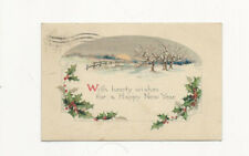 NEAT VINTAGE HAPPY NEW YEAR POSTCARD POSTMARKED 1924 WHITEWATER WIS